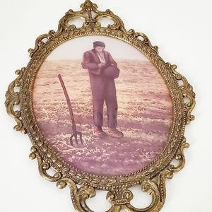 VINTAGE Wall Oval Metal Frame and Bubble Glass